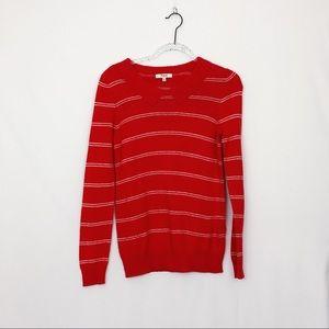 Madewell orange striped sweater w/ faux collar - S